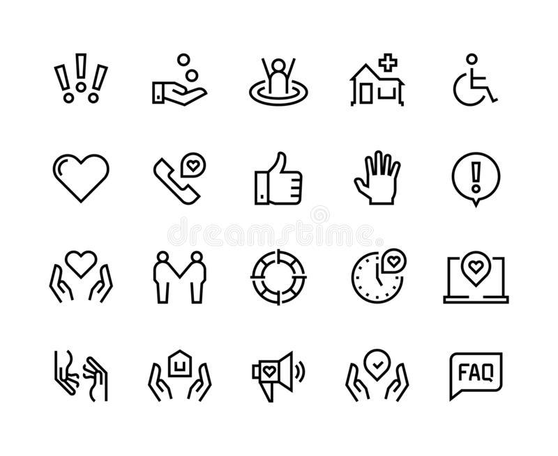 Help line icons. Support health care, manual faq guide, family life care community charity donate. Help and support set stock illustration