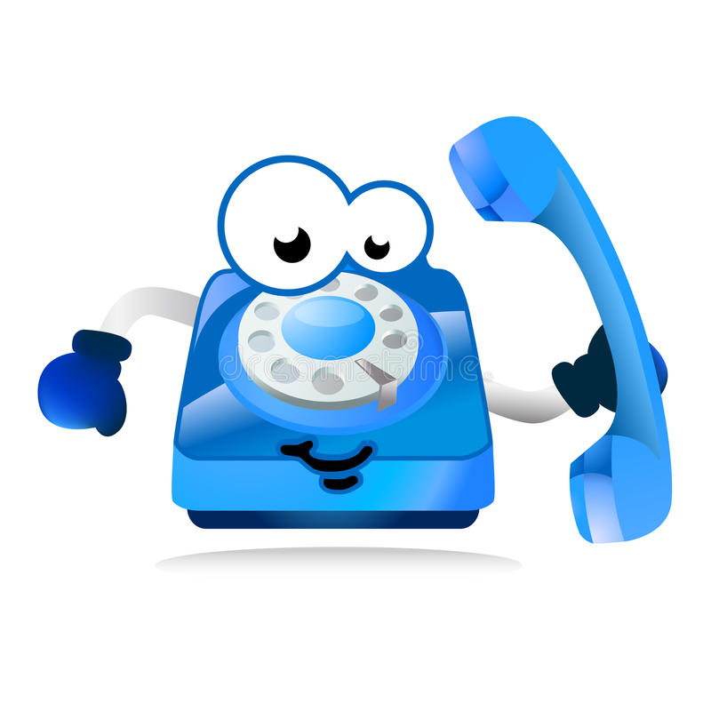Help line phone mascot. Illustration of cartoon comic style character as mascot for helpline phone numbers for kids and people in need of help vector illustration