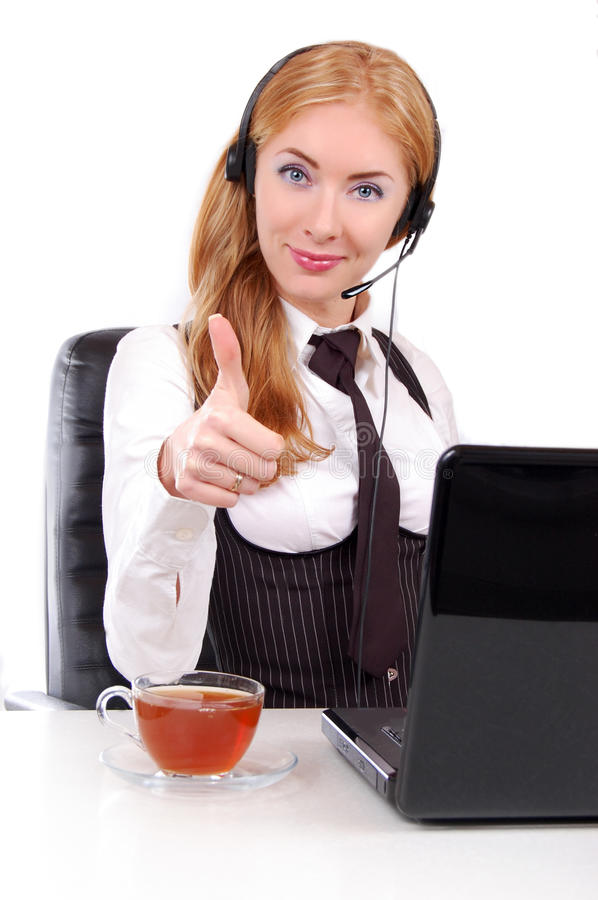 Help-line woman assistant with thumb up. Help-line woman assistant with headset and thumb up, isolated on white stock images