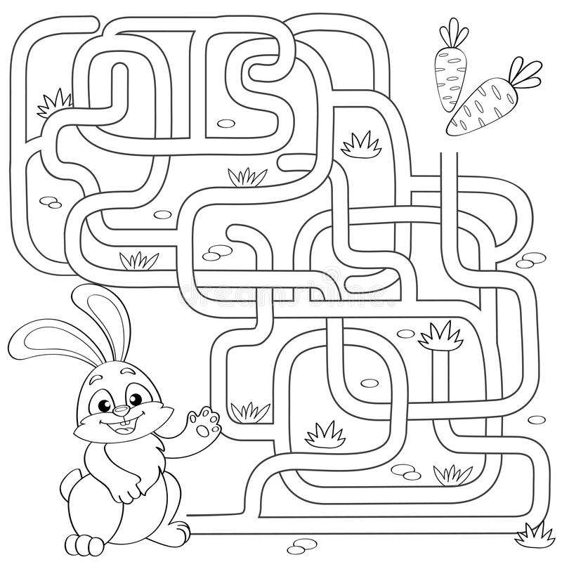 Help little bunny find path to carrot. Labyrinth. Maze game for kids. Black and white vector illustration for coloring book royalty free illustration
