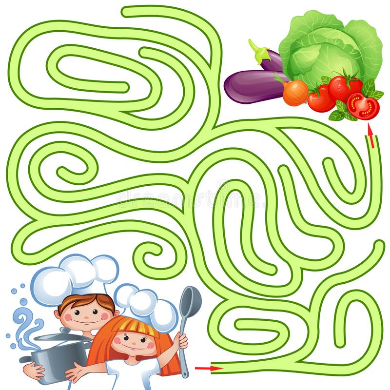 Help little chefs find path to vegetable. Labyrinth. Puzzle. Maze game for kids stock illustration