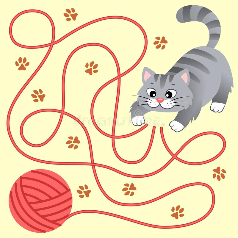 Help little kitten find path to ball of thread. Labyrinth. Maze game for kids stock illustration