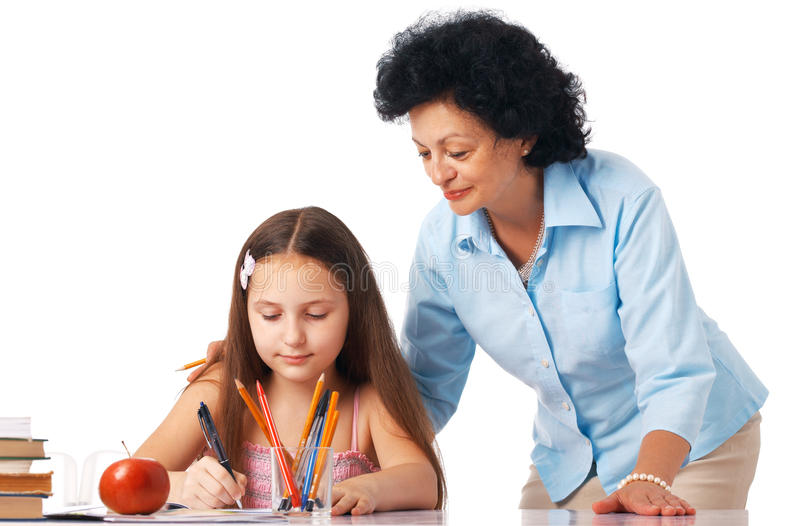 Download Help Me, Granny. stock image. Image of homework, copybook - 15923887