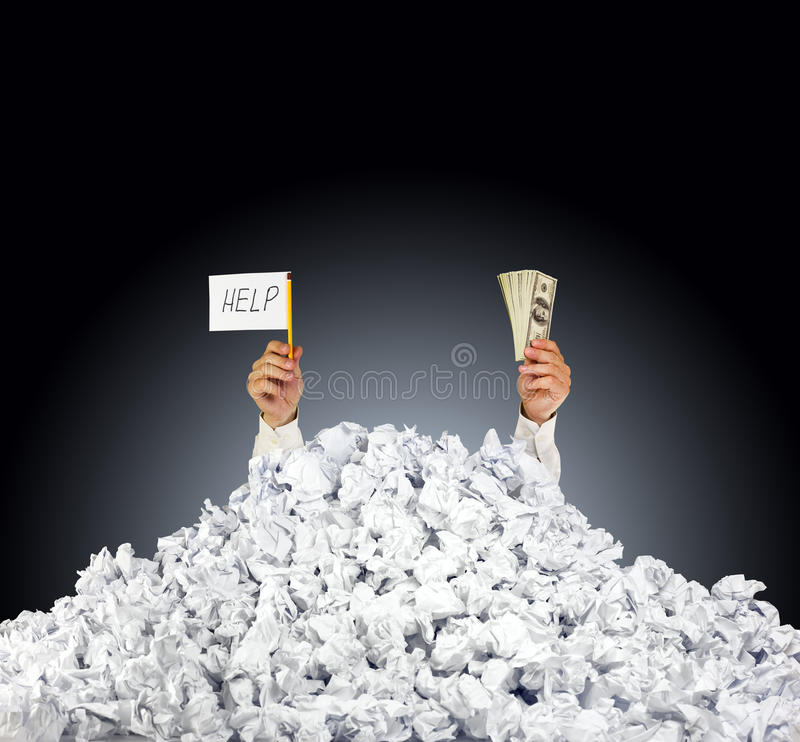 Help Me! Person Under Crumpled Pile Of Papers Stock Photos