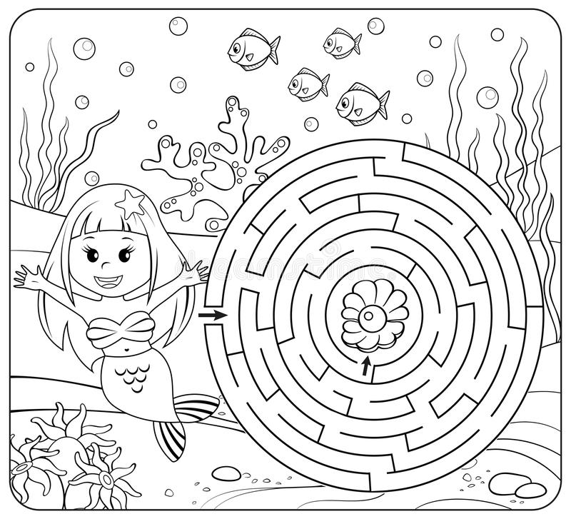 Help mermaid find path to pearl. Labyrinth. Maze game for kids. Coloring page royalty free illustration