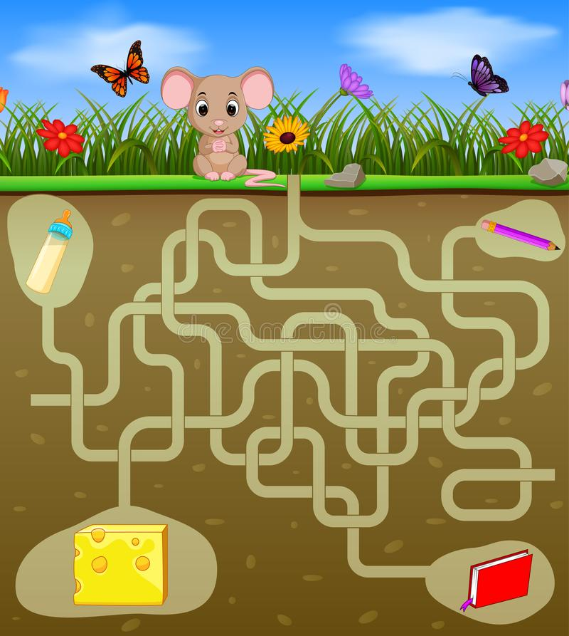 Help the mouse to find the cheese!. Illustration of Help the mouse to find the cheese stock illustration