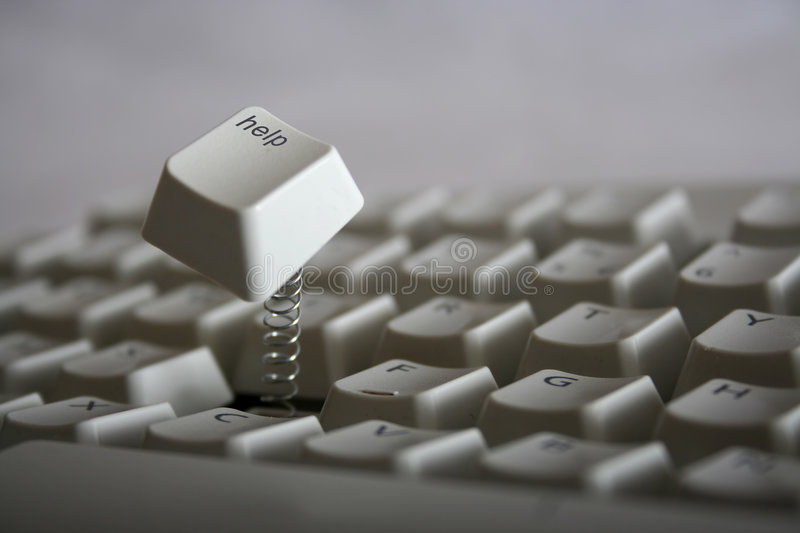 Help needed!. Help key jumping out of keyboard with a spring. Red colored version also available royalty free stock photography