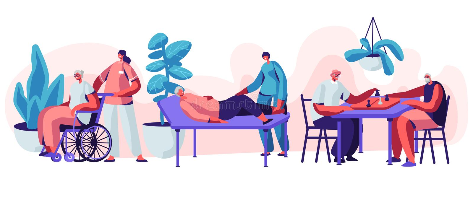 Help Old Disabled People in Nursing Home. Social Worker Community Care of Sick Seniors on Wheelchair, Skilled Nurse Healthcare. Help Old Disabled People in royalty free illustration