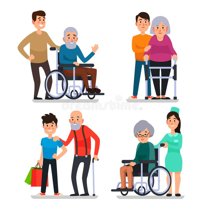 Help old disabled people. Social worker of volunteer community helps elderly citizens on wheelchair, senior with cane. Help old disabled people. Social worker of vector illustration