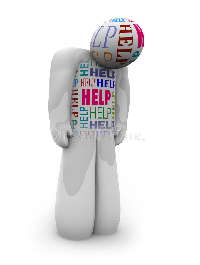 Help - One Person is Alone and Depressed. One person stands with slumped shoulders looking sad, with the word Help written all over him as a cry for assistance stock illustration