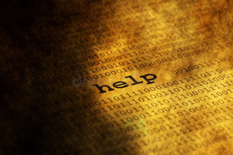 Help over binary data. Close up of Help over binary data stock photography