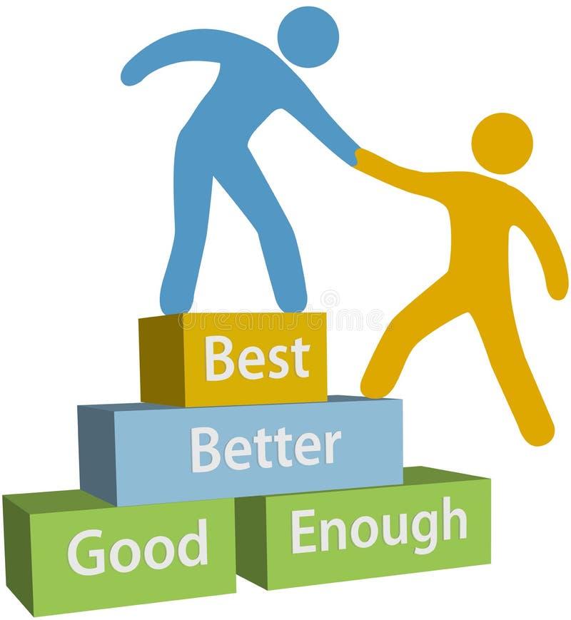 Help People Good Better Best Achievement Stock Vector