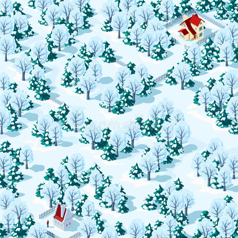 Help the person find the way from one house to another in the winter forest. Children`s game riddle maze royalty free stock image
