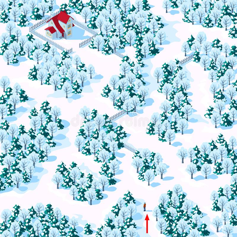 Help the person find the way to the house through the winter mixed forest. Children`s game riddle maze royalty free stock photography