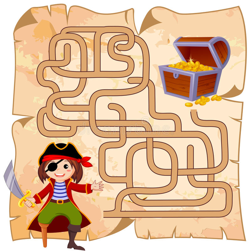 Help pirate find path to treasure chest . Labyrinth. Maze game for kids stock illustration