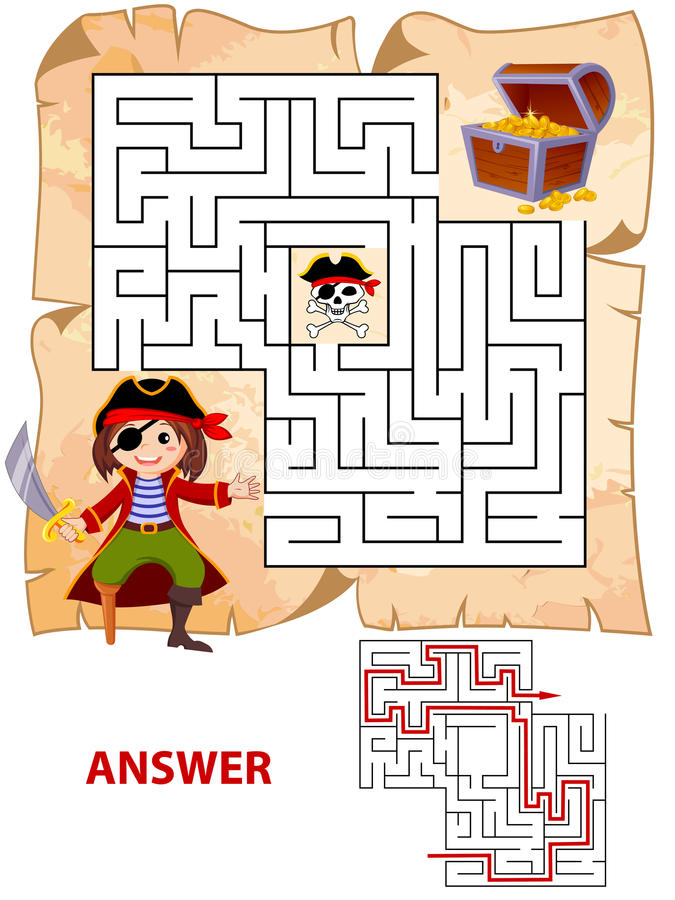 Help pirate find path to treasure chest . Labyrinth. Maze game for kids royalty free illustration