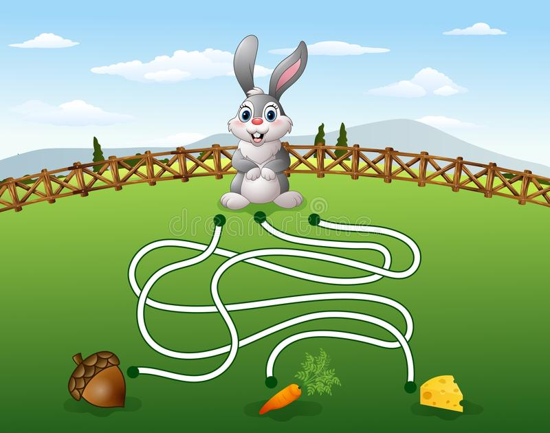Help the rabbit to find the carrot. Illustration of Help the rabbit to find the carrot stock illustration