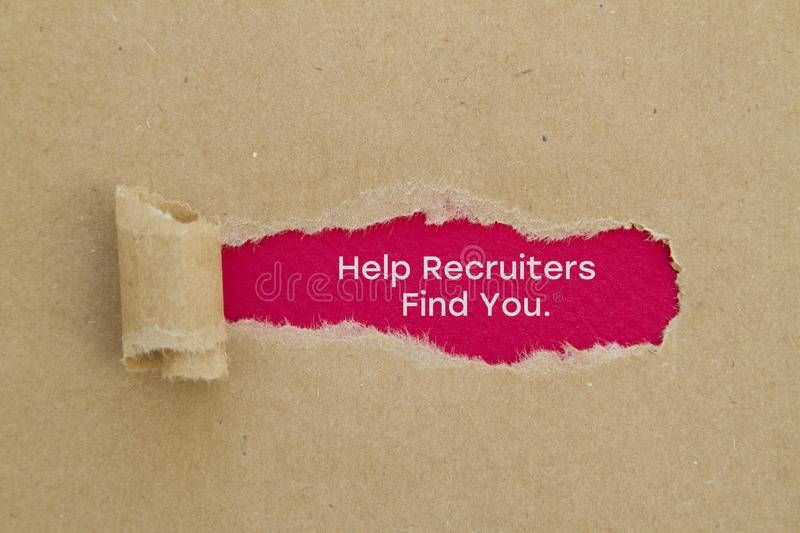 Help recruiters find you. Word written under torn paper concept royalty free stock photo