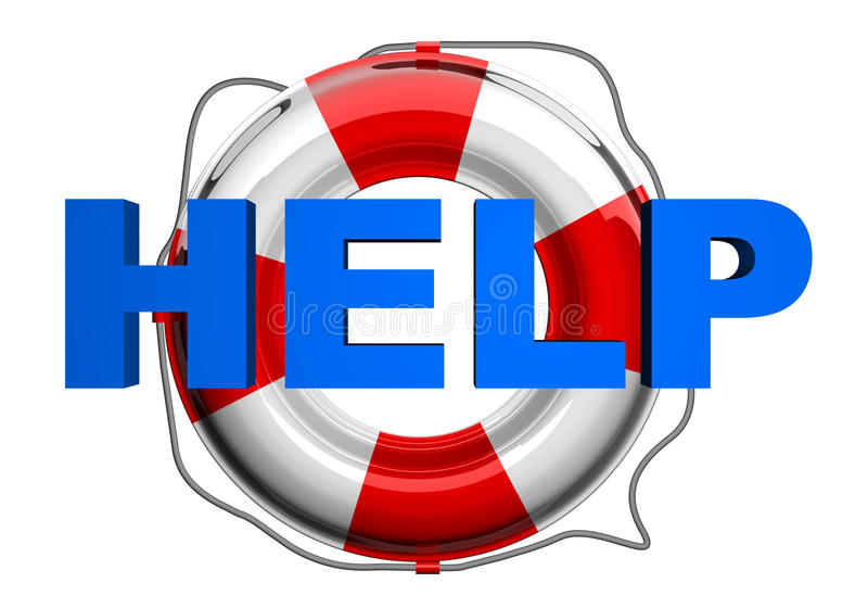 Help red and white lifebelt vector illustration