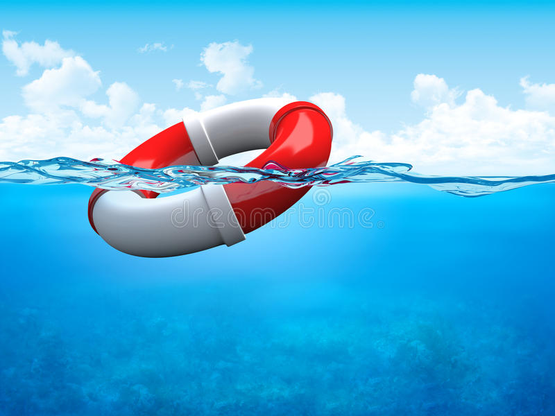 Help! Ring-buoy underwater stock photography