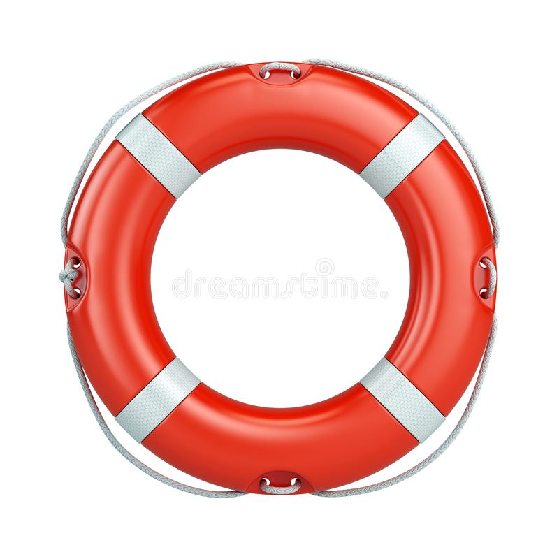 Help, safety, security concept. Lifebelt, life buoy isolated on white background royalty free stock photography