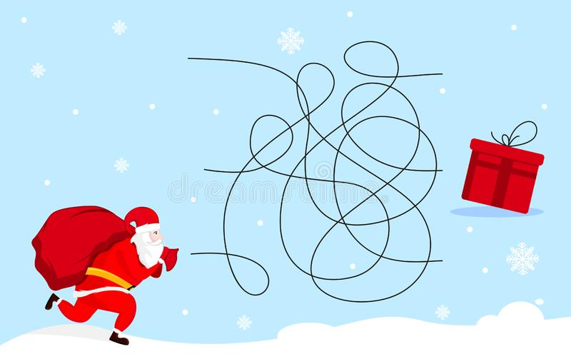 Help Santa Claus find the present . Christmas labyrinth maze game. Vector illustration design vector illustration