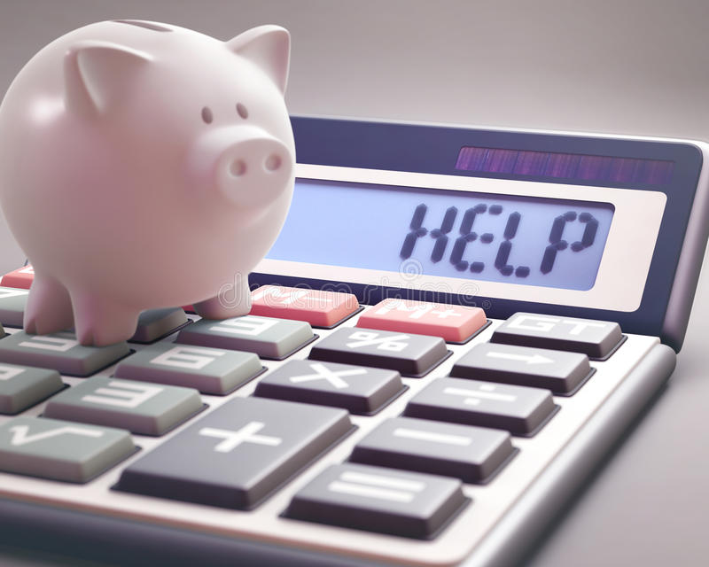 Help Save Money. Piggy bank on a calculator that shows the word `HELP` on the display. 3D illustration with several concepts: Help finances, Help business, Help royalty free stock photography