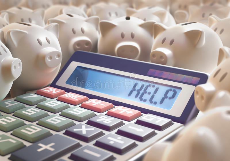 Help Save Money. Solar calculator amid several piggy banks showing on the digital display the word 'HELP'. 3D illustration with several concepts: Help finances royalty free stock image
