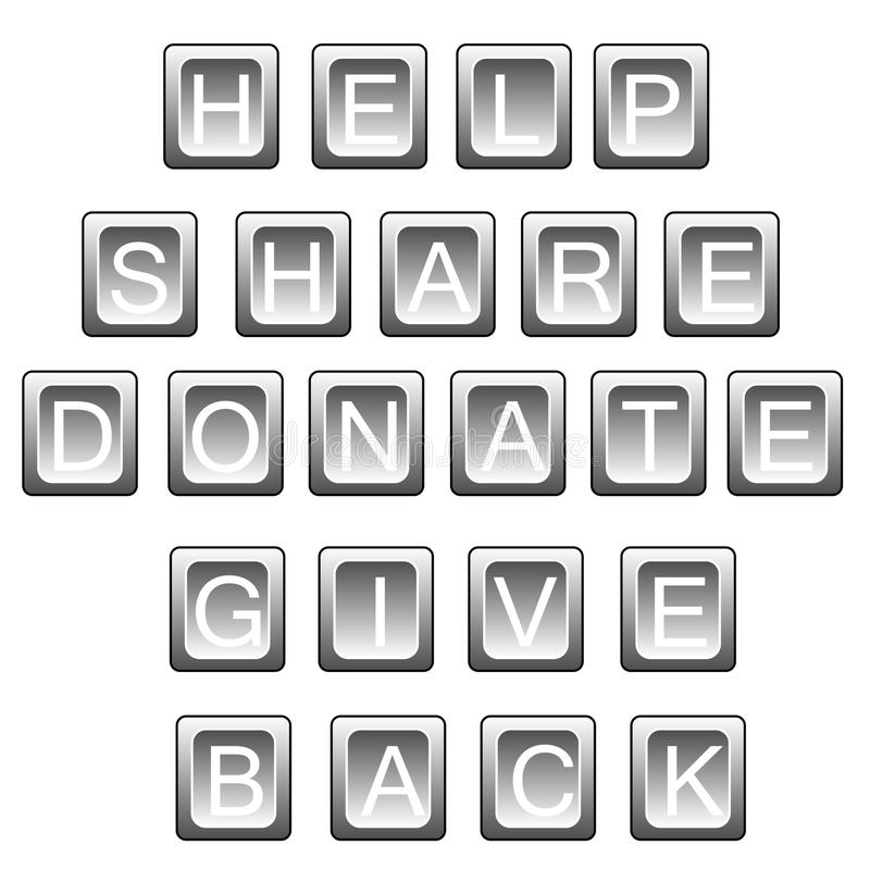 Download Help Share Donate In Keyboard Letters Stock Illustration - Illustration: 32916581