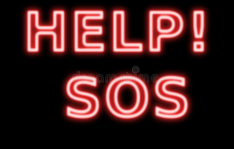 help sos neon sign retro red Abstract resembling 24 hours neon sign stock image