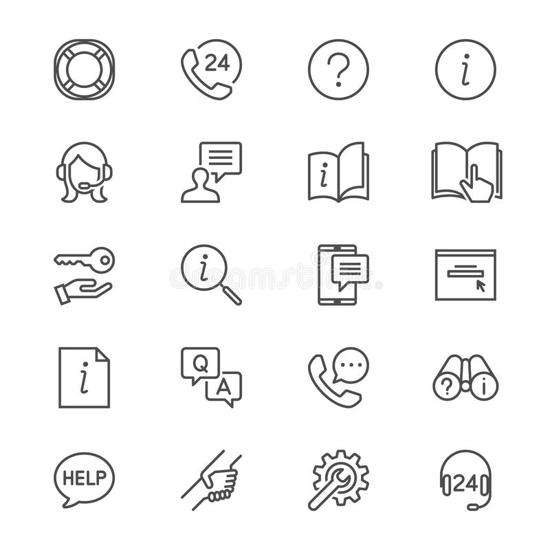 Help and support thin icons stock illustration