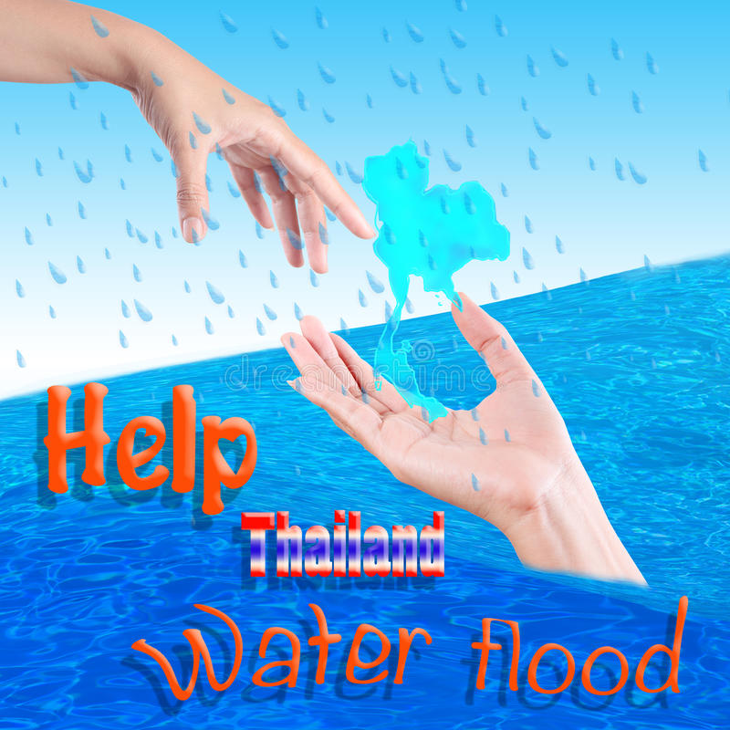 Help Thailand water Flood. Crisis royalty free illustration