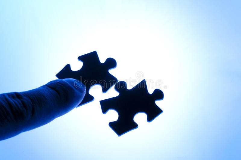 Help: to join puzzle (blue) royalty free stock photography