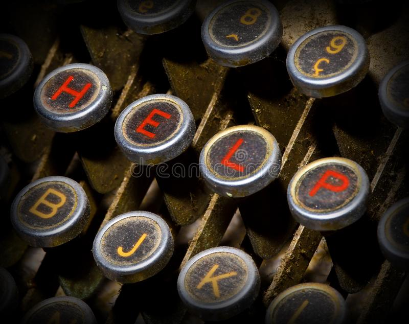Help typewriter keys stock images
