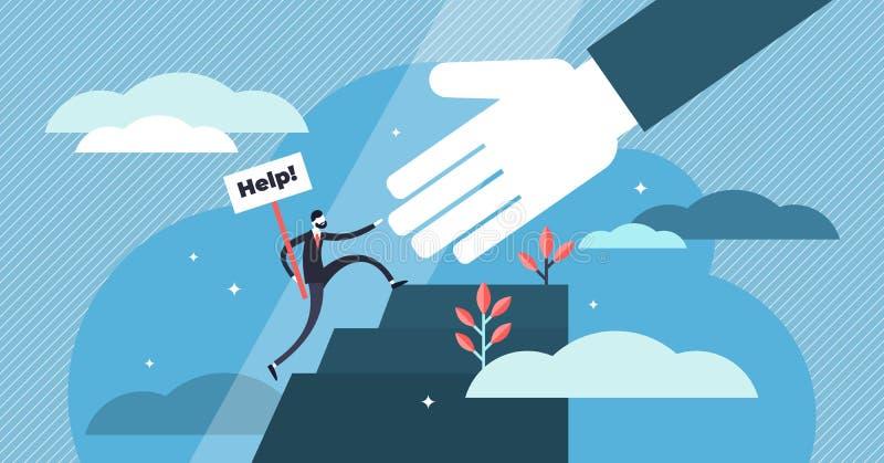 Help vector illustration. Flat tiny emergency assistance persons concept. Help vector illustration. Flat tiny emergency assistance person concept. Rescue royalty free illustration