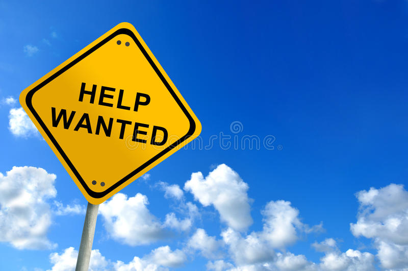 Help wanted. Sign on bluesky royalty free stock photography