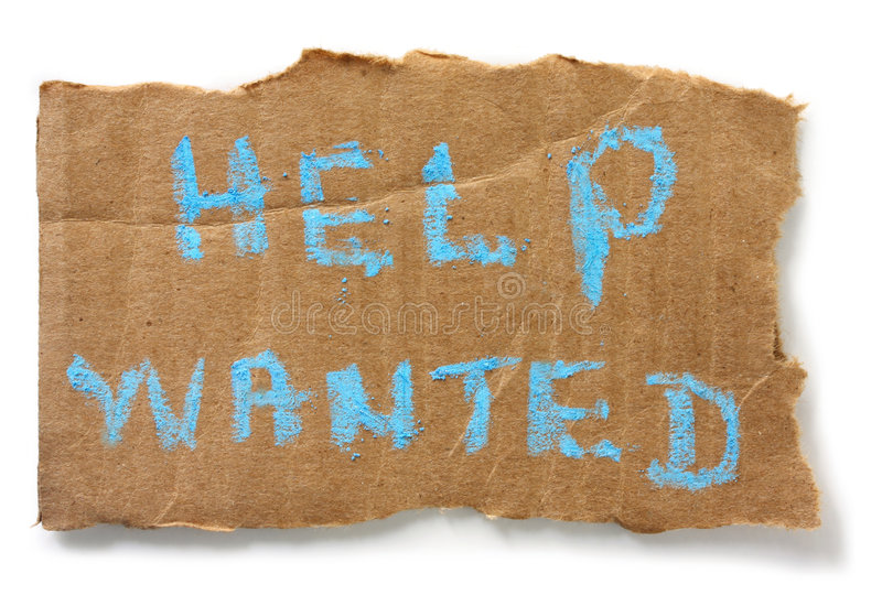 Help Wanted. Chalked on torn cardboard sign, isolated on white with soft shadow stock photography