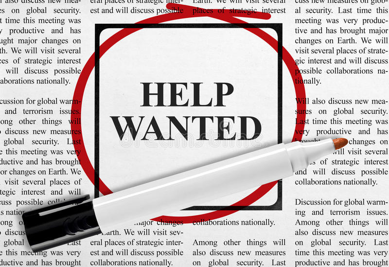 Help wanted. Ad on newspaper royalty free stock image