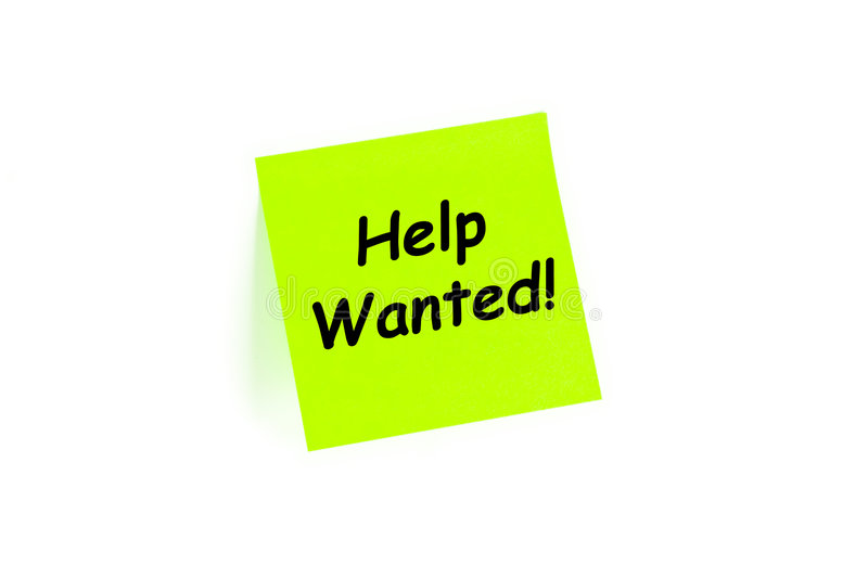 Help Wanted Concept. On a post-it note isolated on white royalty free stock image