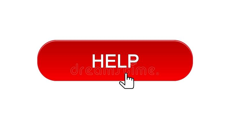 Help web interface button clicked with mouse cursor, red color, support online vector illustration