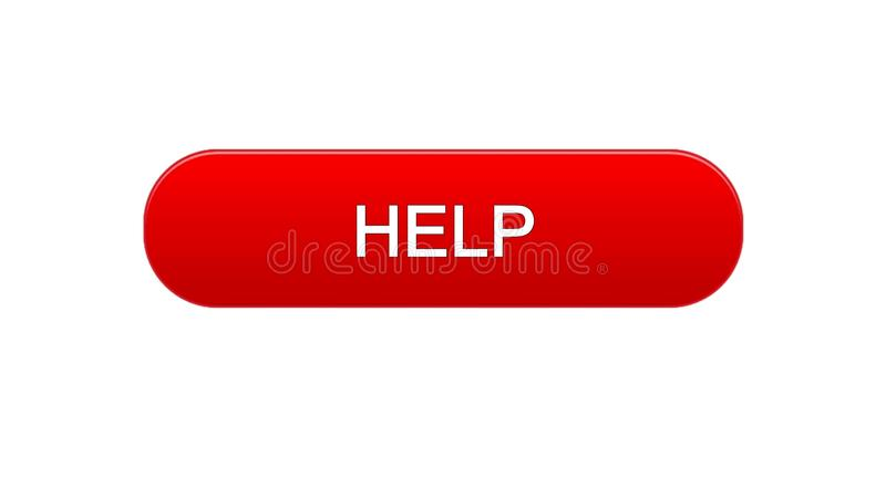 Help web interface button red color, support online, assistance application royalty free stock images