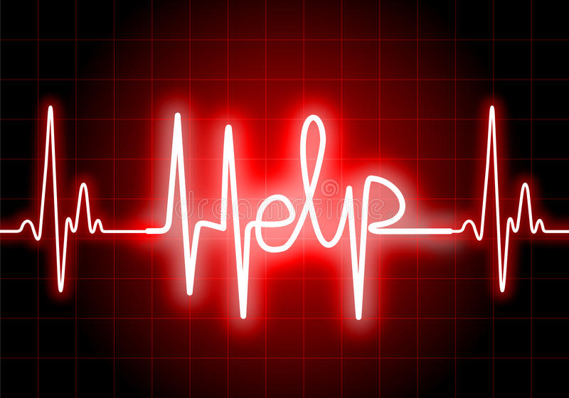HELP written on red heart rate monitor. Expressing warning on heart condition, health hazard stock illustration