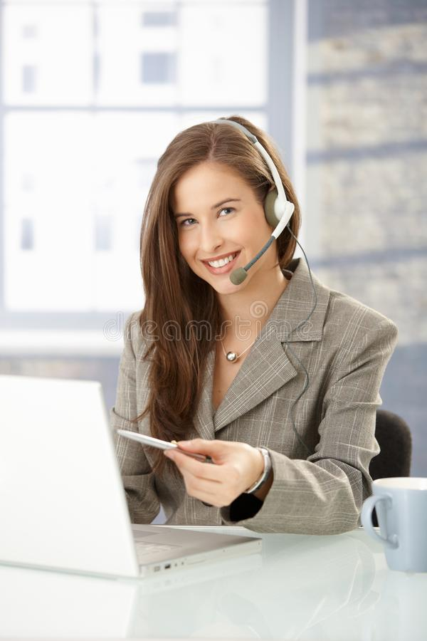 Helpdesk operator at work stock images