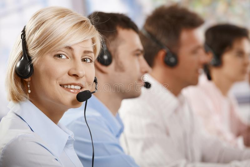 Helpdesk Receicving Calls Stock Image