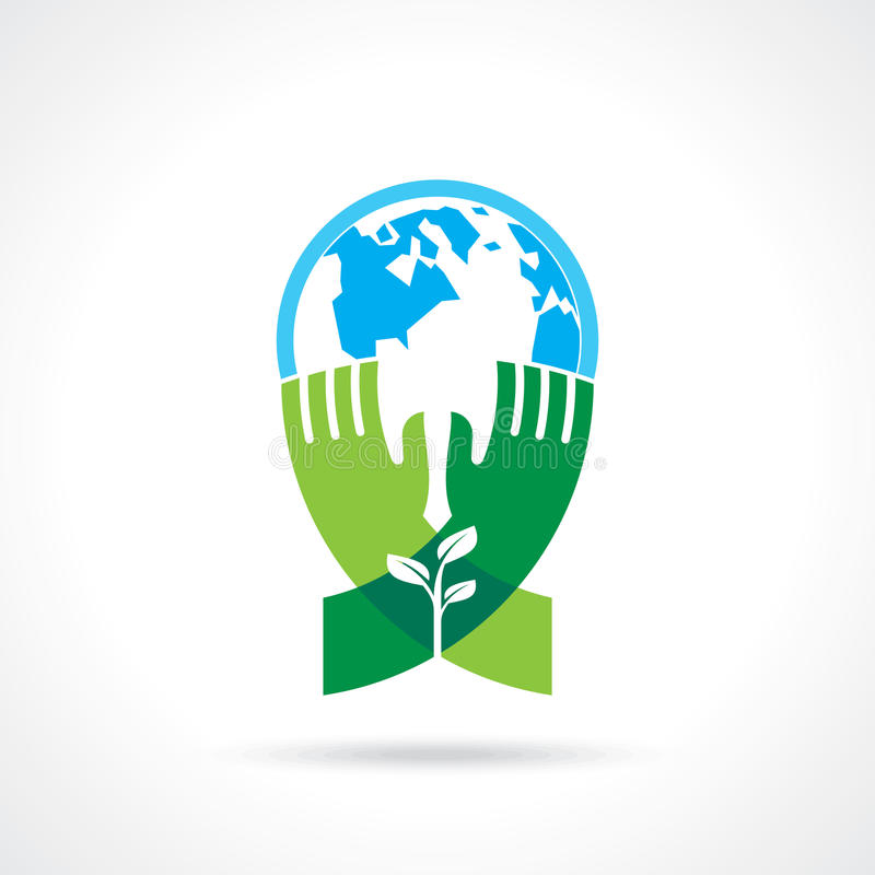 Helpend hand boom ter wereld maken - vectorillustratie stock illustratie