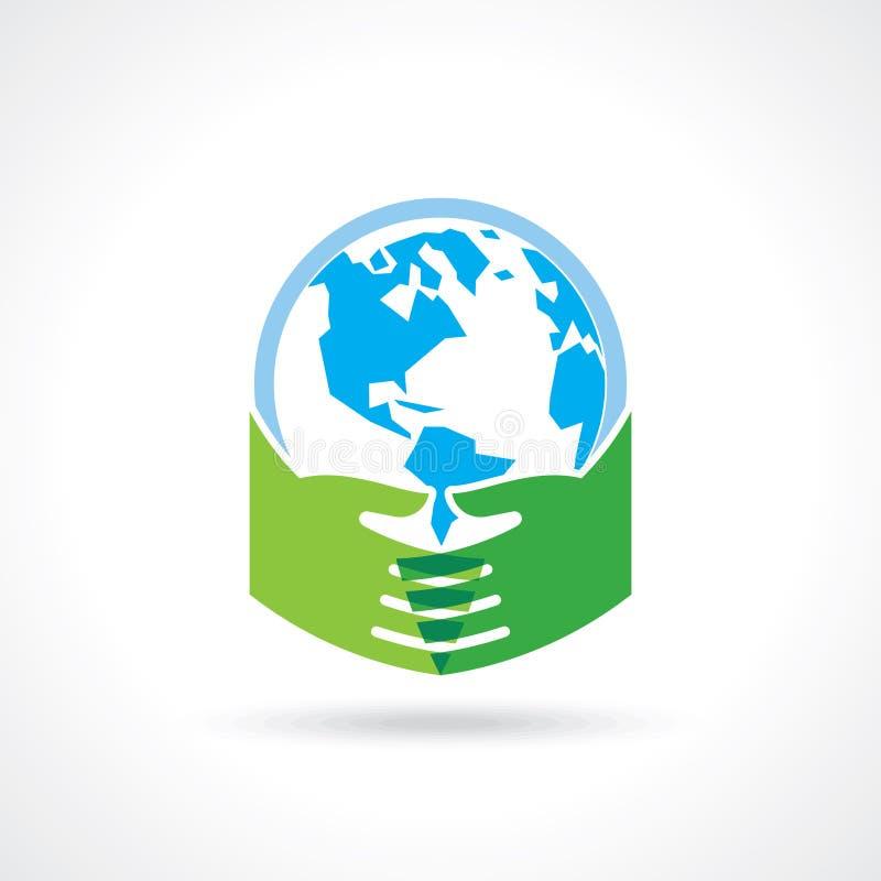 Helpend hand boom ter wereld maken - vectorillustratie vector illustratie