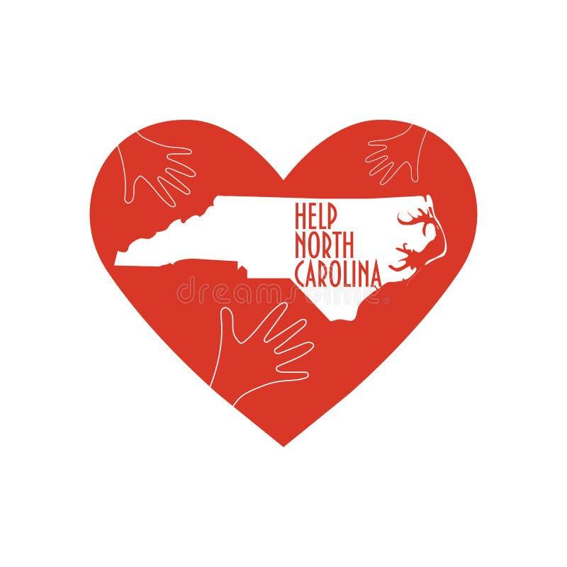 Helpend handen, hart, de kaart van Noord-Carolina Steun voor vrijwilliger, liefdadigheids of hulp het werk na Orkaan Florence stock illustratie