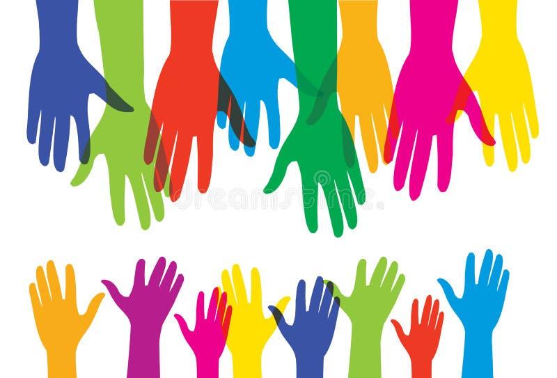 Helpend menselijke volwassen handen en kinderen kleine handen - vectorillustratie royalty-vrije illustratie