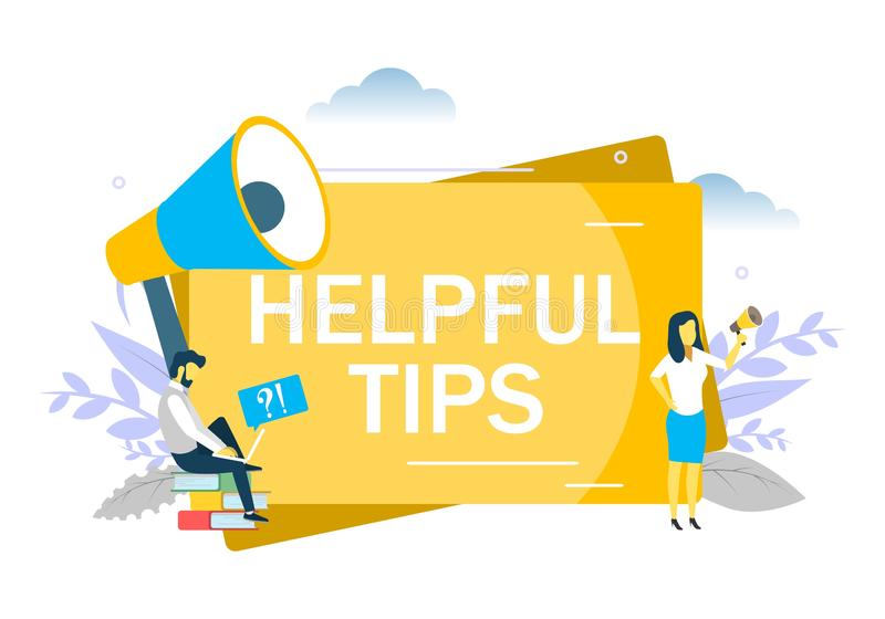Helpful tips concept vector flat style design illustration. Helpful tips, business woman speaking through megaphone, man asking questions via laptop. Vector flat vector illustration