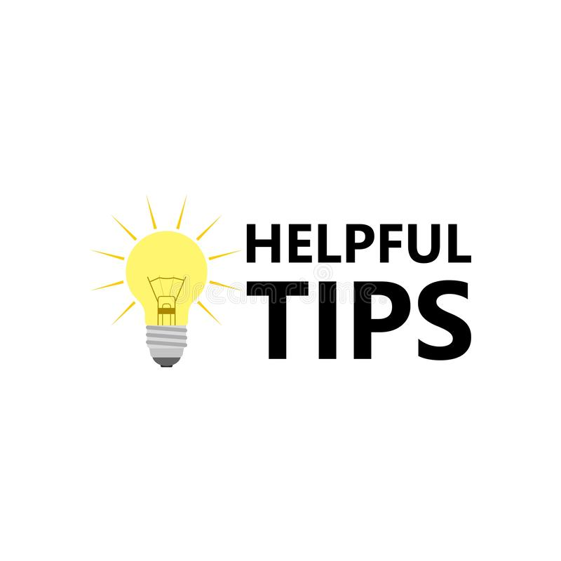 Helpful Tips Sign, Bulb Icon Stock Vector - Illustration of ...